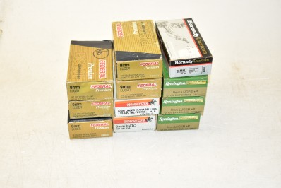ASSORTED 9MM AMMO (TARGET AND SELF DEFENSE)
