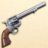 1873 Cavalry Style Old West Revolver Nickel Finish