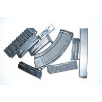 VARIOUS CALIBER HANDGUN AND RIFLE MAGS AND SHOTGUN HOLDER